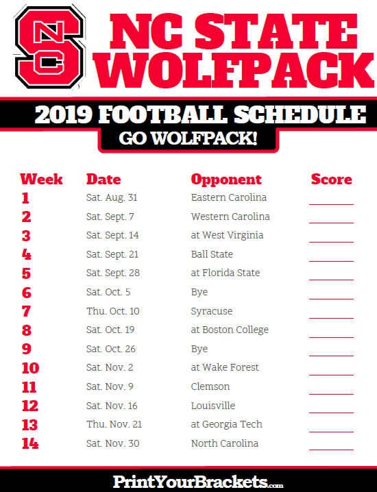 Printable 2019 Nc State Wolfpack Football Schedule Carolina Gamecocks Football Gamecocks Football South Carolina Gamecocks Football