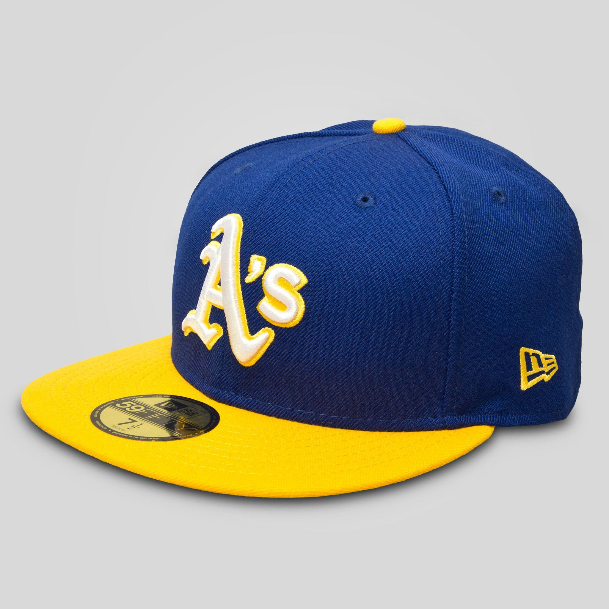 cheaper 6a330 579b9 Oakland A s New Era Fitted Cap in Royal   Gold