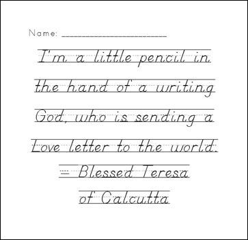 Printable handwriting pages in print, cursive, and D'Nealian ...