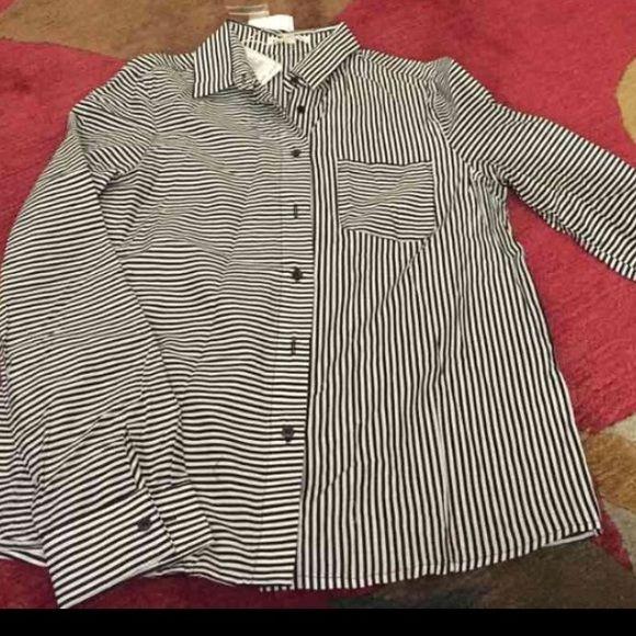 Soft thin Striped Shirt. NWT Black/White Button down. ANGL Tops