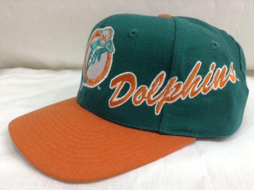 Miami dolphins hat script snapback logo pro line authentic