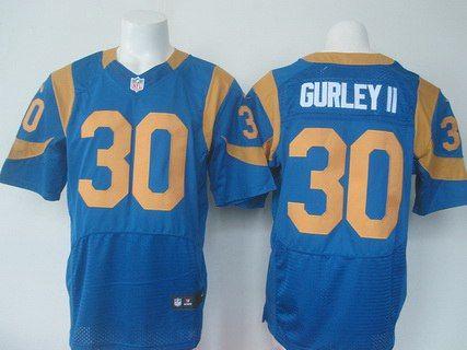mens st. louis rams 30 todd gurley ii royal blue alternate nfl nike elite jersey