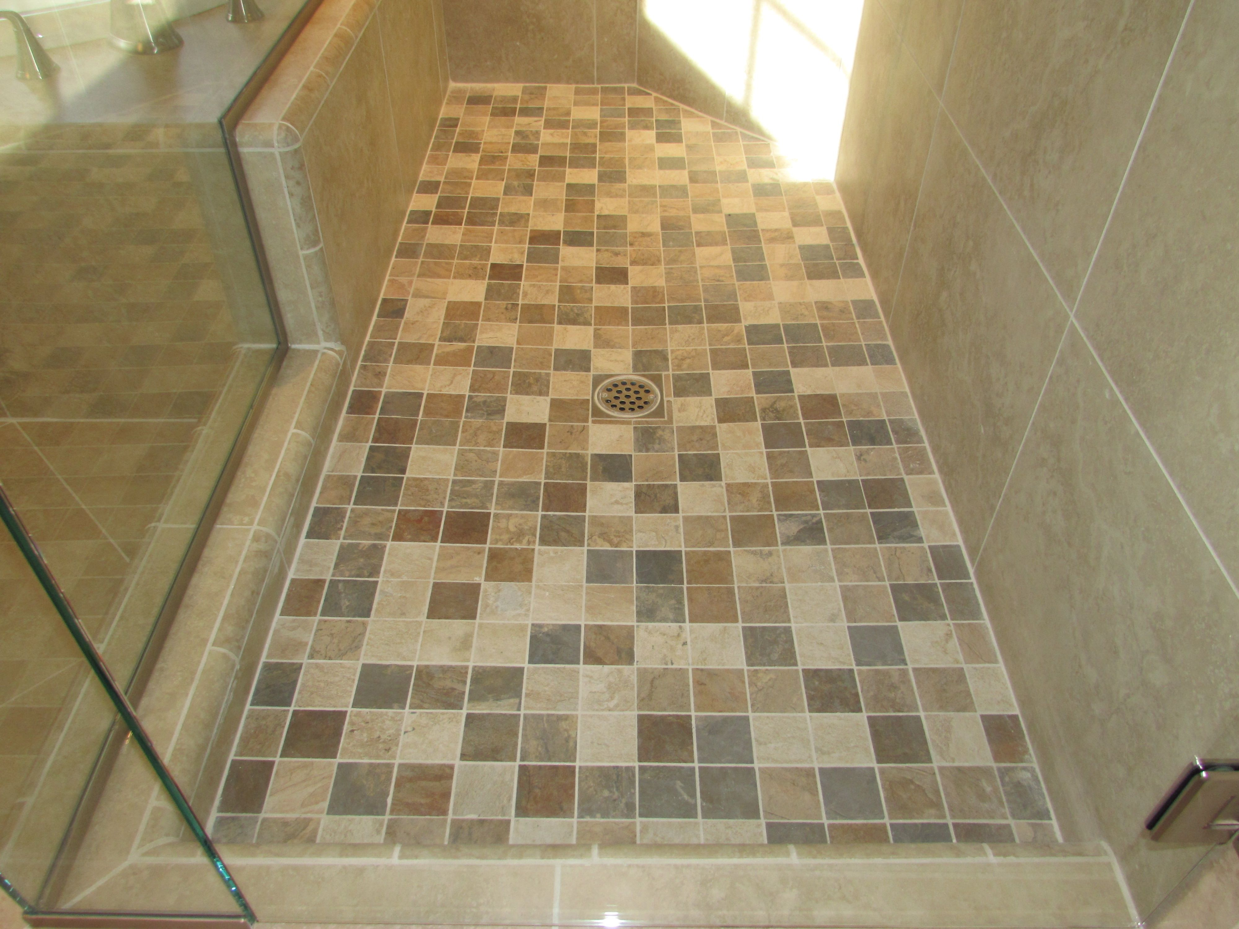 This Is A 2x2 Porcelain Mosaic Tile On A Shower Pan Which Is Multi Colored To Look Like Slate Porcelain Mosaic Tile Shower Pan Remodeling Projects
