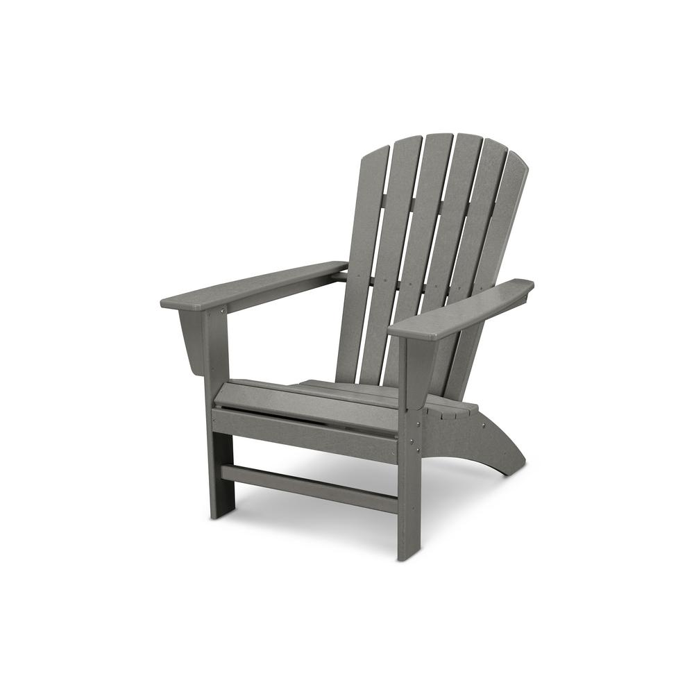 Polywood Grant Park Traditional Curveback Gray Plastic Outdoor