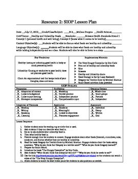 SIOP Lesson Plan Healthy and Unhealthy Foods | SIOP Lesson Plans