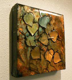 Pond Series 15, 1074, aspen leaf acrylic collage ©