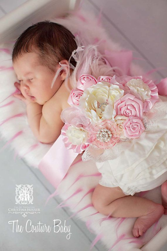 Pink Maternity Pregnancy Photo Prop Couture Baby Sash for Belly Mom ...