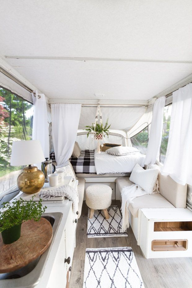 Modern Farmhouse Pop Up Camper Remodel | Zevy Joy | See how we transformed this …