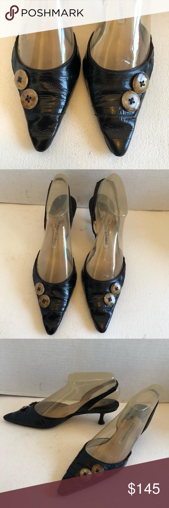 Manolo Blahnik Eel Skin Button Sling Back Heels Manolo Blahnik Kitten Heel Shoes Shoes Women Heels