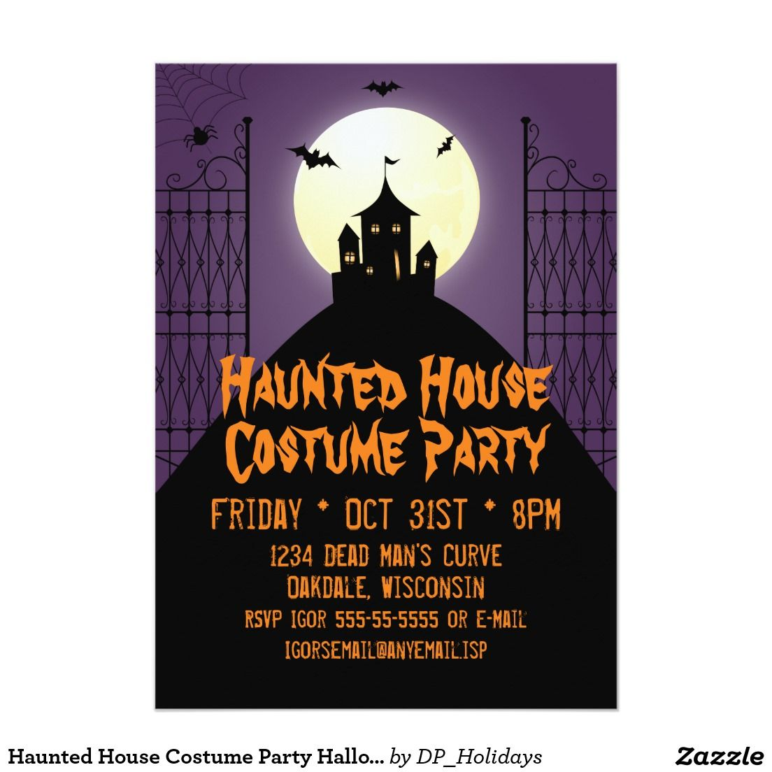 Haunted House Costume Party Halloween Card - An eerie Halloween ...