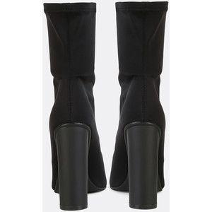 SheIn(sheinside) Pointy Toe Cylinder Heel Boots BLACK