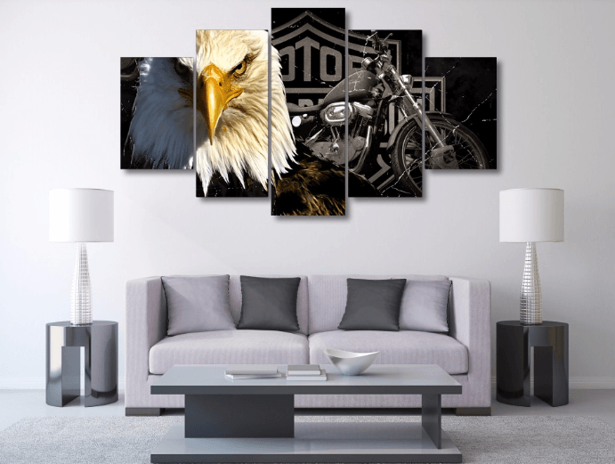 Style Your Home Today With This Amazing Harley Davidson 5 Piece Canvas Framed Wall Art For $99.00  Discover more canvas selection here http://www.octotreasures.com  If you want to create a customized canvas by printing your own pictures or photos, please contact us.