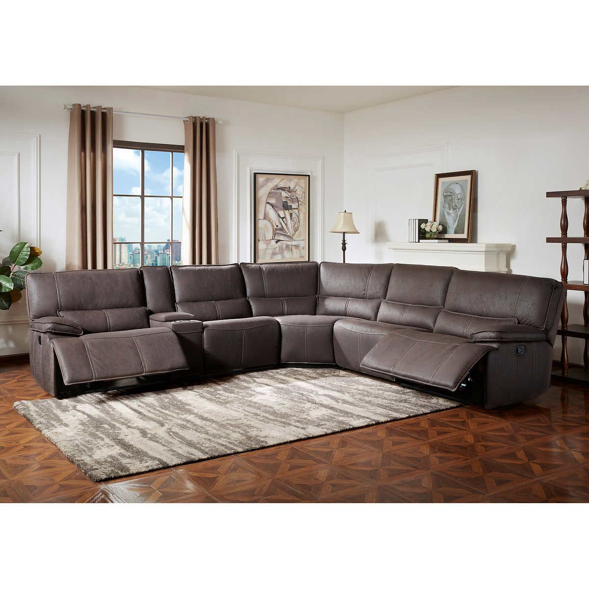 Pin By Angie Logan On Our New Home Sectional Sofa With Recliner Fabric Sectional Sofas Leather Reclining Sectional Sofa