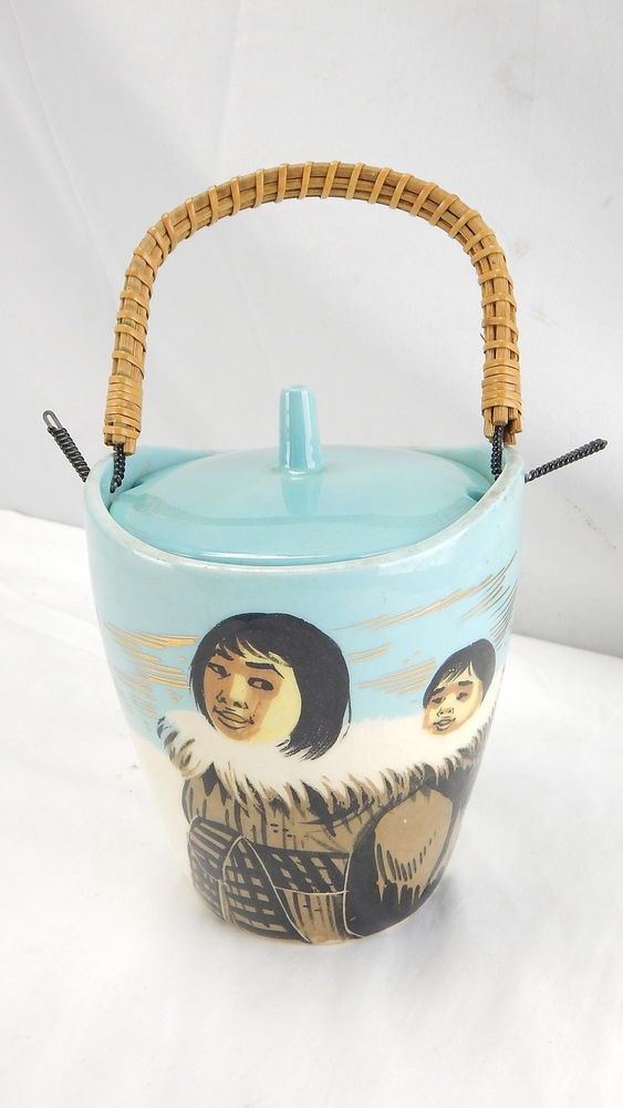 RARE VINTAGE Matthew Adams Alaska Pottery Ice Bucket No. 023D Eskimo Scene LOOK