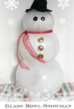 glass bowl snowman, repurposing upcycling, seasonal holiday d cor