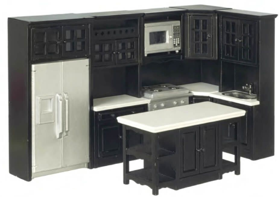 Kitchen Set Modern Black 8pc Mary S Dollhouse Miniatures In
