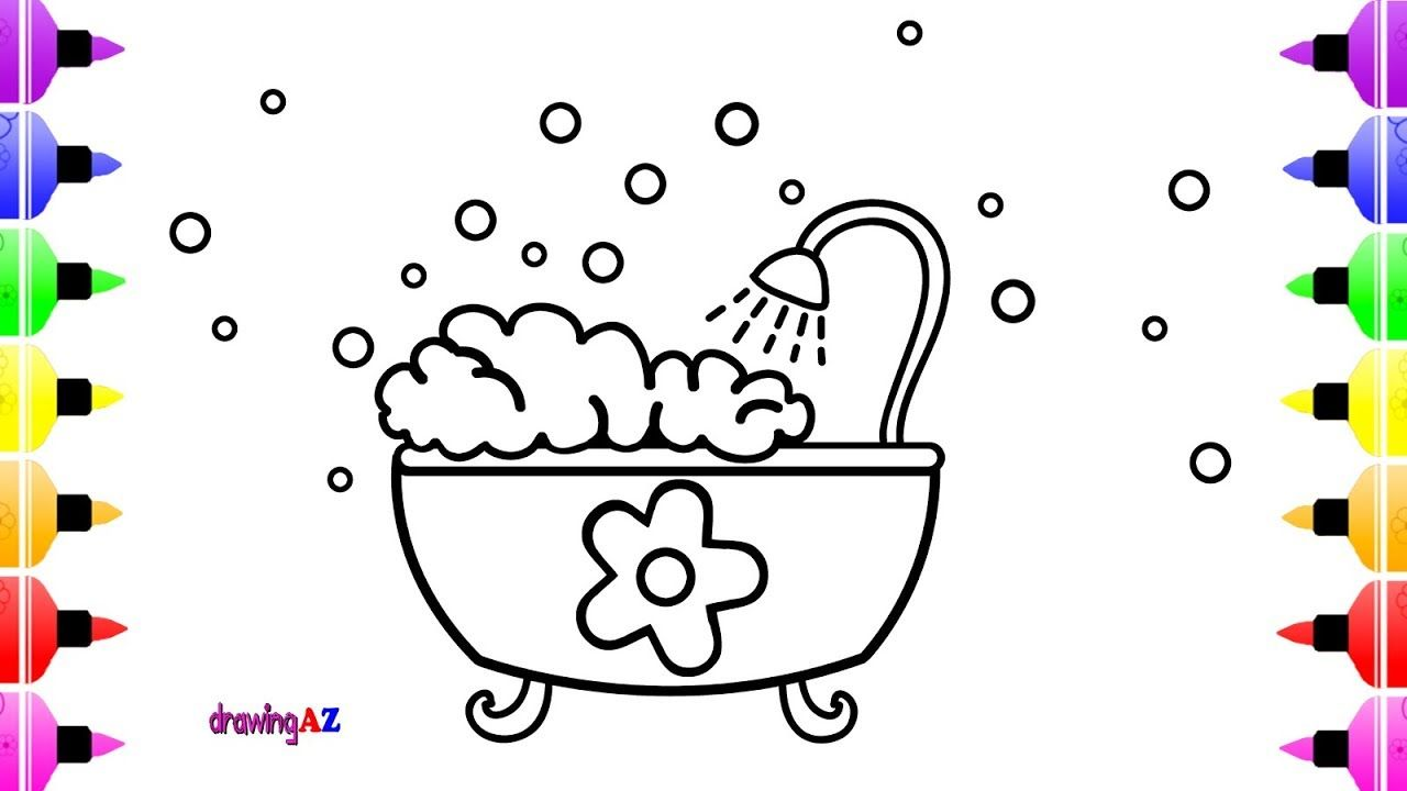 How To Draw Bathtub For Kids Art Coloring Page For Girls With
