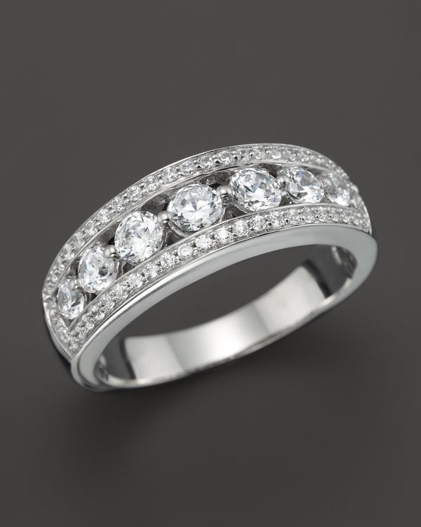 Diamond Pave Channel Set Band in 14K White Gold, 1.0 ct. t.w.