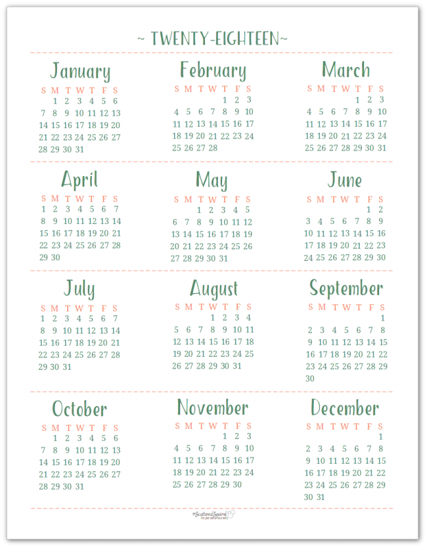 full size us letter 2018 dated yearly calendar printable for your long term planning