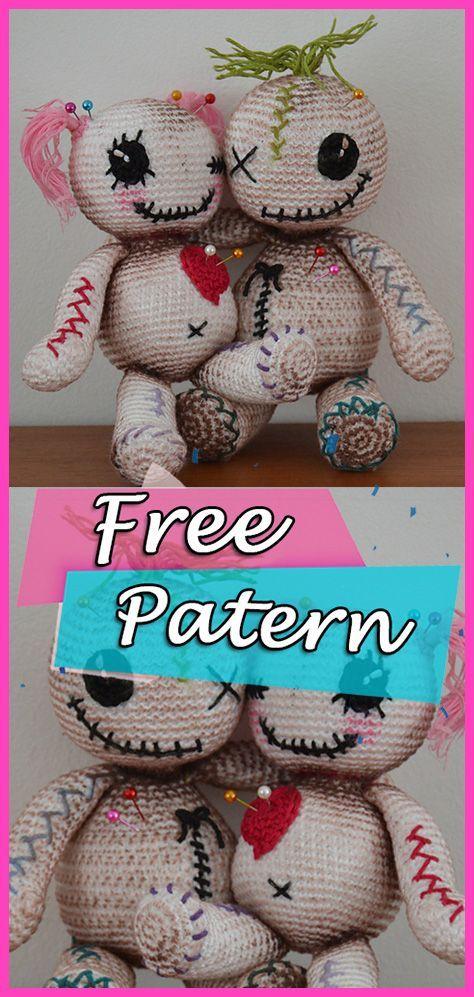 Voodoo-Puppen häkeln kostenlose Muster Amigurumi Halloween