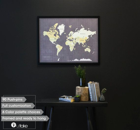 Push pin travel map with frame push pin map for family world framed push pin travel map custom world travel by outtakeprints gumiabroncs Gallery