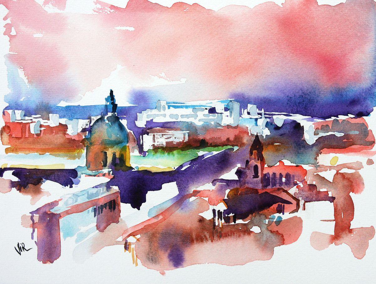 Aquarelle Toulouse En 2020 Aquarelle Peinture Et Peinture Aquarelle