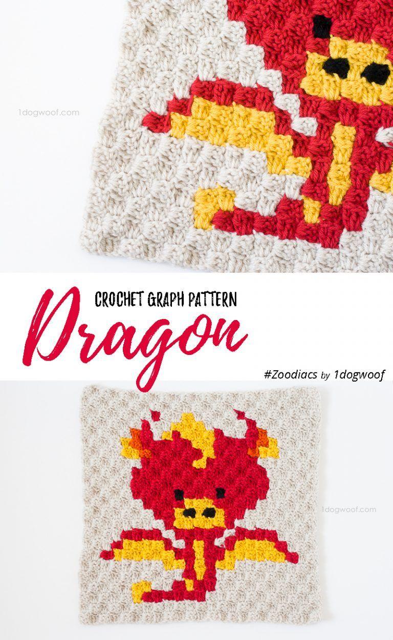 Zoodiacs Dragon C2C Crochet Graph