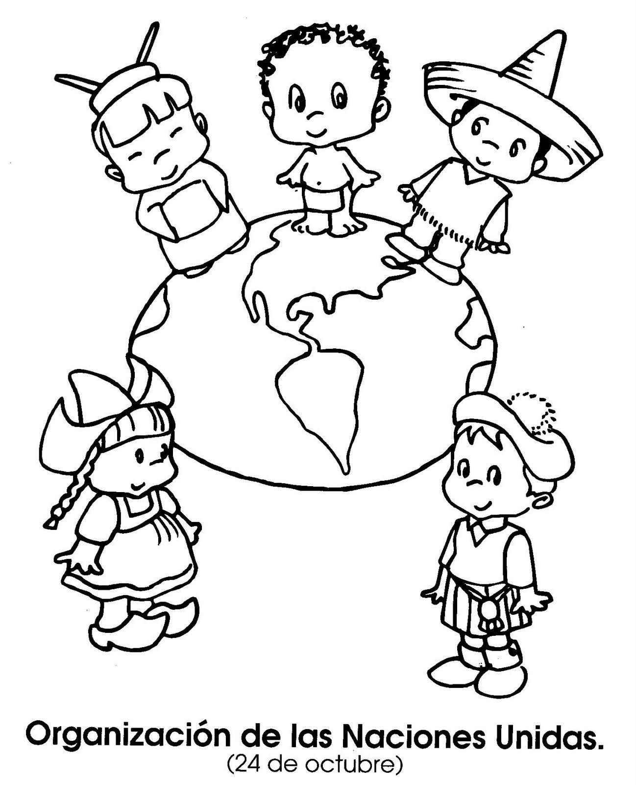 14 de abril dia de las americas para colorear ONU 182x225
