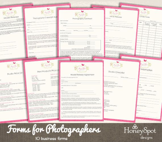 Photography Forms Templates INSTANT DOWNLOAD by HoneyspotDesigns - business forms templates