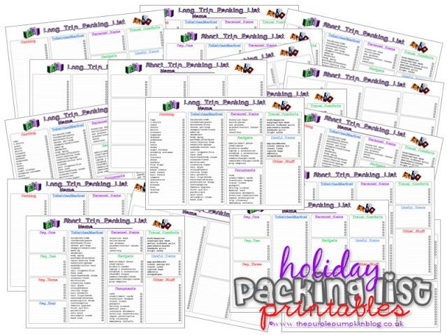Free Travel Printables for Home  Away! Includes Packing Lists