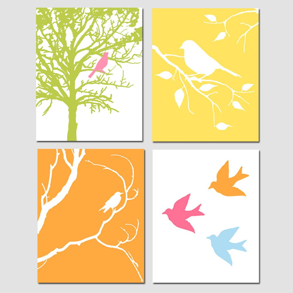 Modern Bird Quad - Set of Four 8x10 Prints - Modern Nursery Art ...