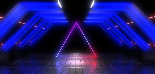 3D abstract background with neon lights neon tunnel3d illustration