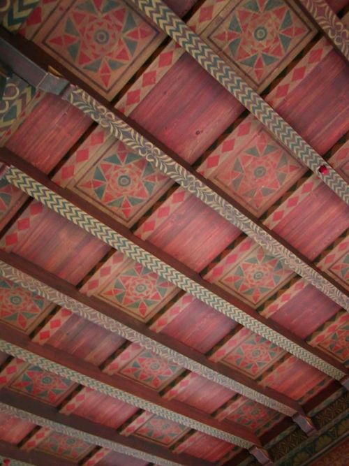 Stenciled Beam And Panel Ceiling Painted Ceiling Beams Wood