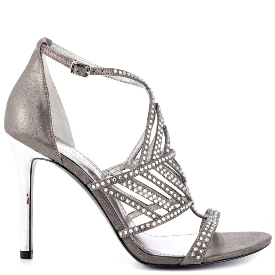 cc3dbac58f6 A soft and beautiful pewter satin drapes over the silhouette while  showcases by shimmering stones. Completing this cocktail look is a 4 inch stiletto  heel ...