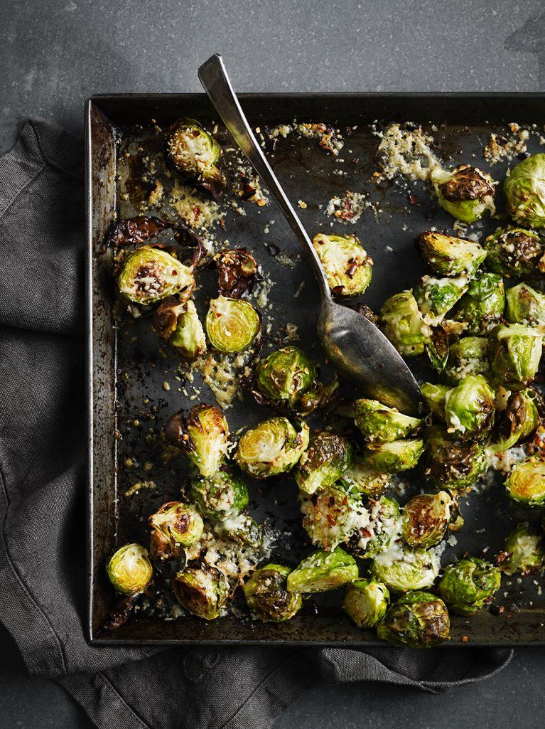 Weihnachtsessen Jamie Oliver.Parmesan Brussels Sprouts