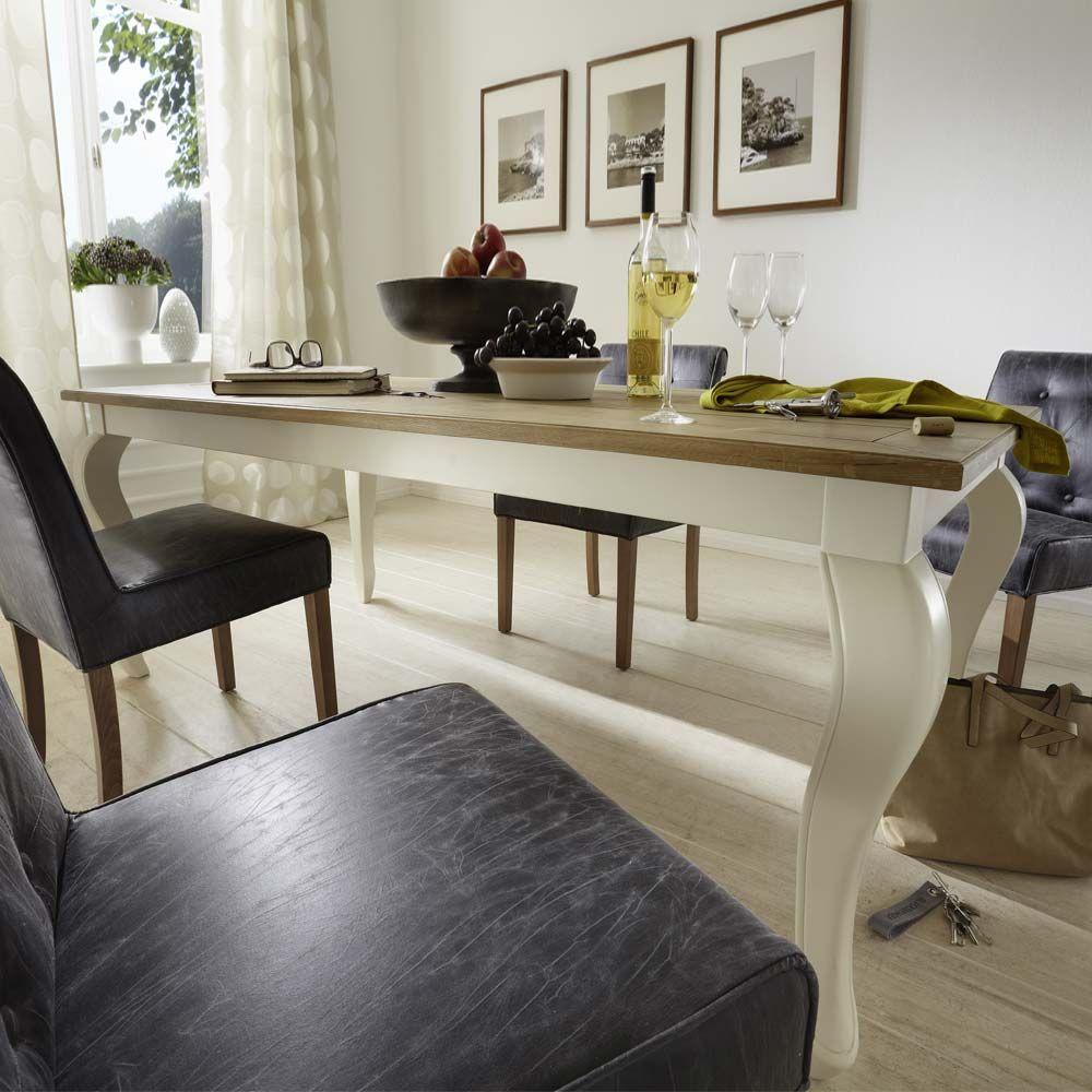 Esszimmer mit küche esszimmertisch in weiß wildeiche massiv landhaus jetzt bestellen