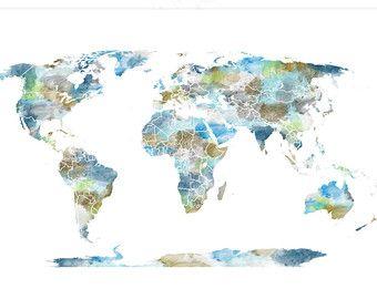 Aqua grote wereld kaart reismogelijkheden door happyplaceart maps watercolour world map poster large world map by happyplaceart gumiabroncs Images