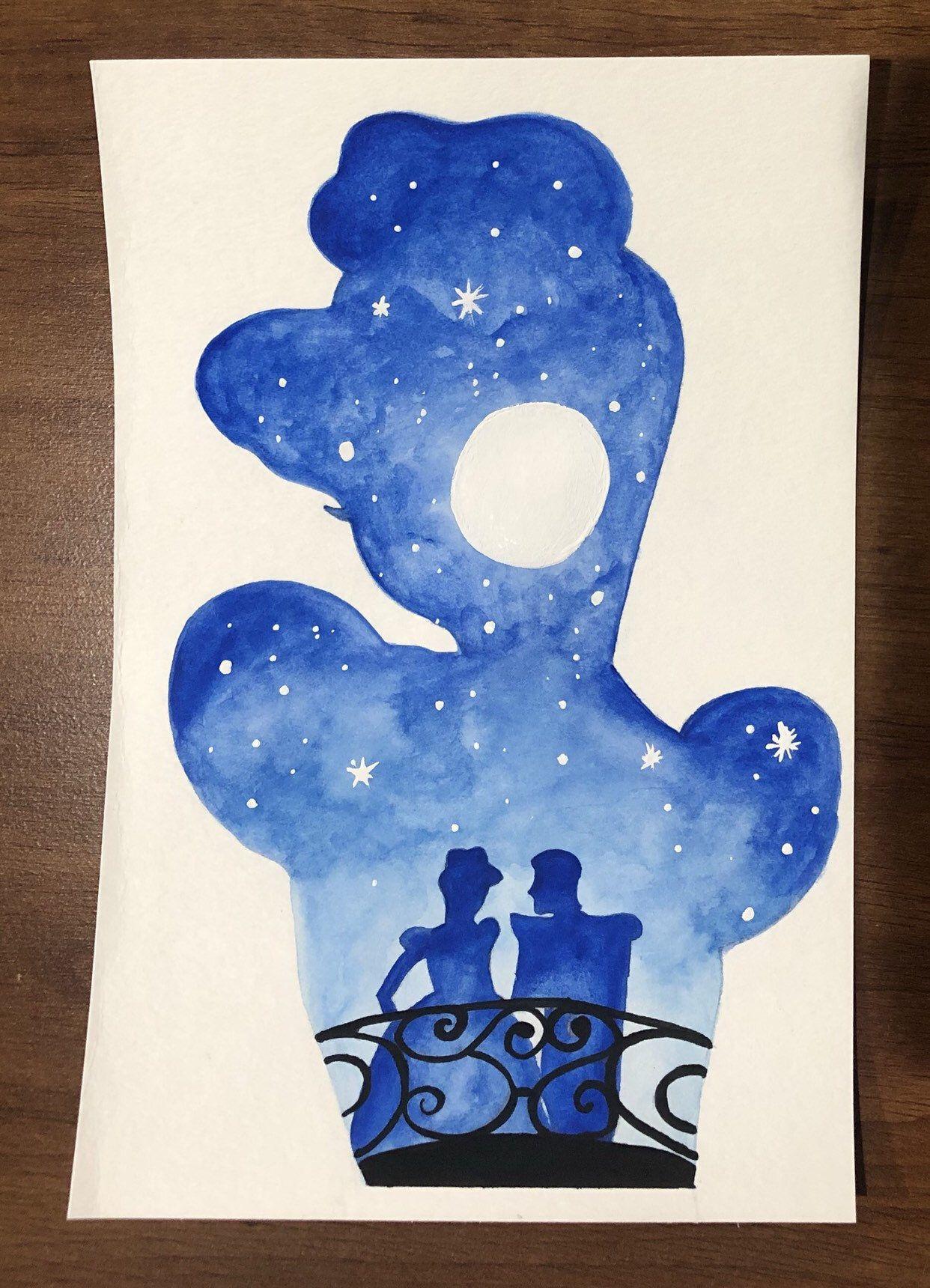 Princess Watercolor Silhouette Cinderella Disney Character Art