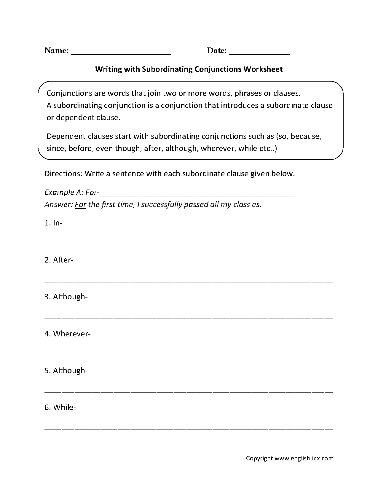 Writing With Subordinating Conjunctions Worksheets