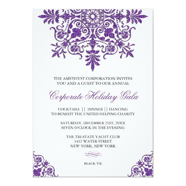 Amethyst Glitter Look Holiday Party InvitationBaroque Amethyst Glitter Look Holiday Party Invitation