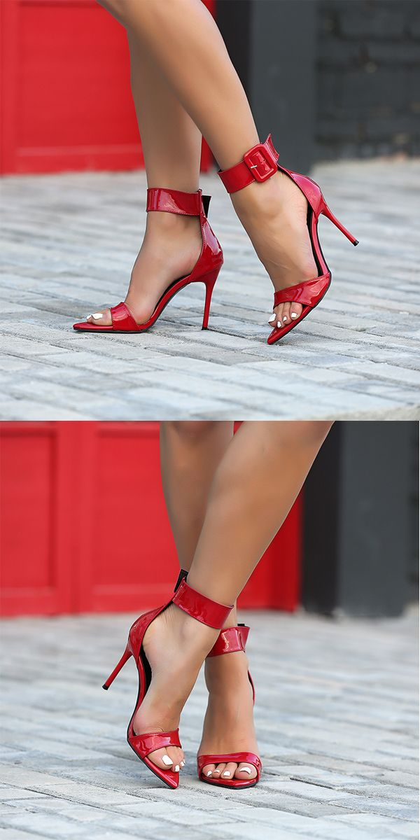 Women sandals red patent leather high heel sandals