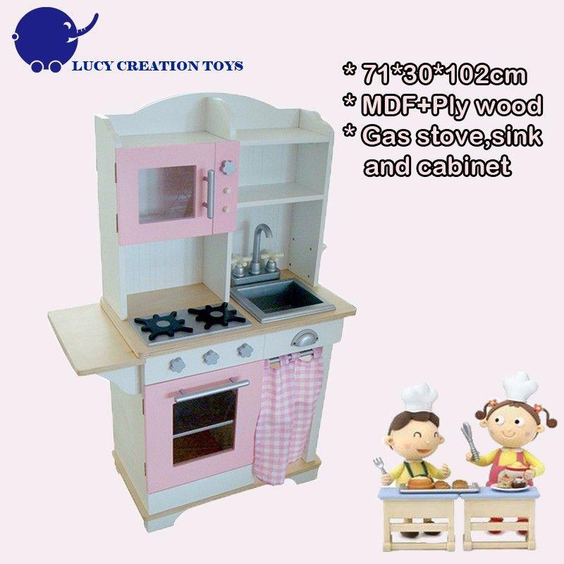 Rosa de madera de juguete niños Juego de cocina con fregadero de ...