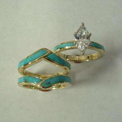 14 karat gold the engagement ring and band httpwwwsouthwestoriginals - Navajo Wedding Rings