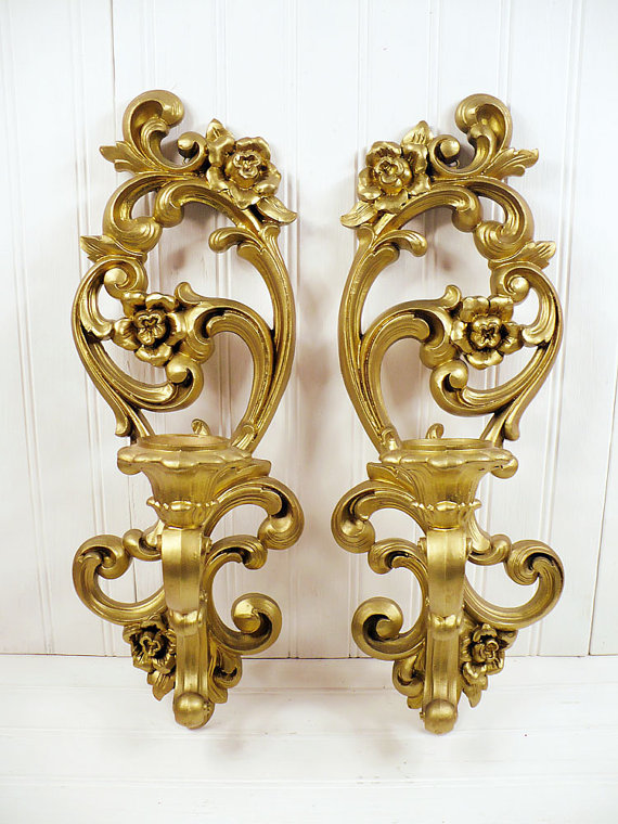 Vintage Homco Gold Plastic Wall Sconce Candle By Vintagegoodness 21 95 Home Interior Candle Wall Sconces Wall Sconces Sconces