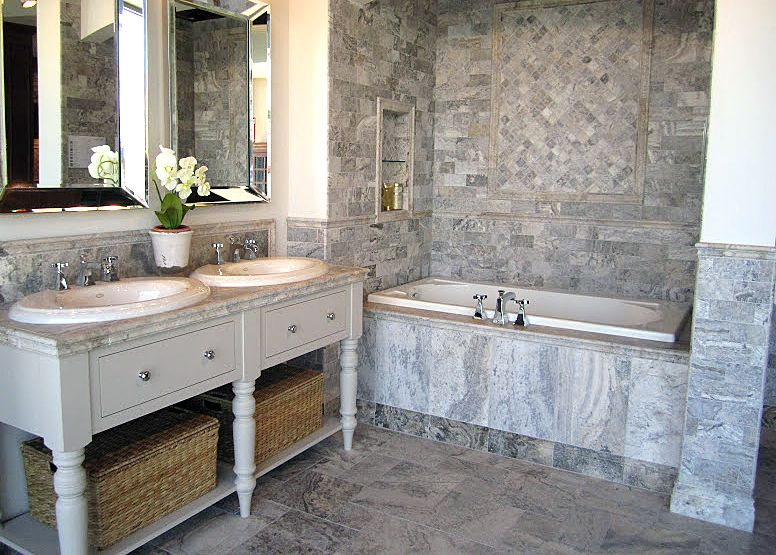 Claros Silver Travertine Bathroom