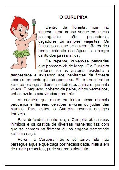 Lendas Do Folclore Brasileiro Para Imprimir Projeto Folclore