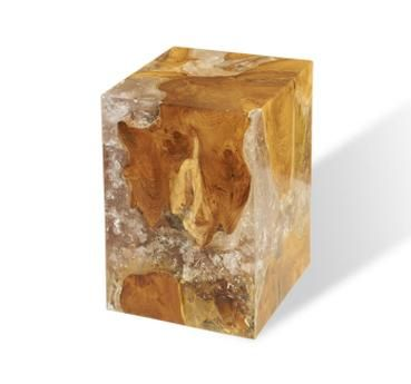 Natural Teak And Resin Side Table Natural Reclaimed Teak Root Embedded In  Resin Block Exceptional Exploding