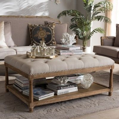 Carlotta French Country Weathered Oak Linen Rectan