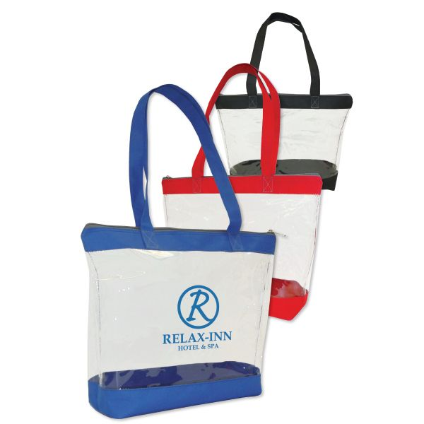 Zippered Clear Tote...Clear security tote bag with colored trim ...