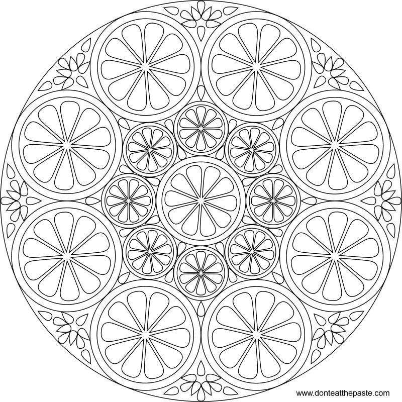 Citrus Mandala To Color Also Available In Transparent PNG Coloring Mandalas